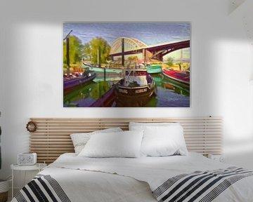 Kunstwerk van Nijmegen - Kleurrijke boten voor de Waalbrug van Slimme Kunst.nl