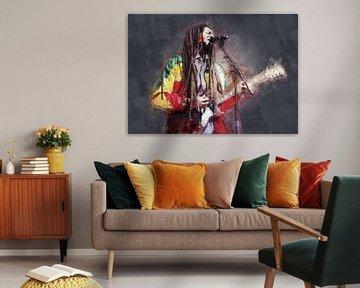 Bob Marley Ölgemälde Portrait zu verkaufen von Bert Hooijer