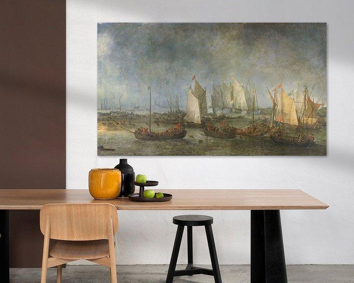 Sfeerimpressie: De Slag om de Slaak tussen de Nederlandse en Spaanse vloot, Simon de Vlieger