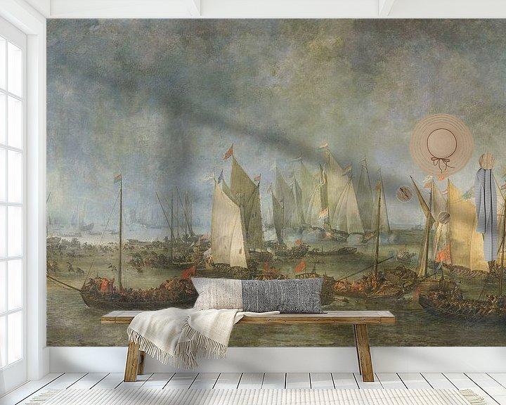 Sfeerimpressie behang: De Slag om de Slaak tussen de Nederlandse en Spaanse vloot, Simon de Vlieger