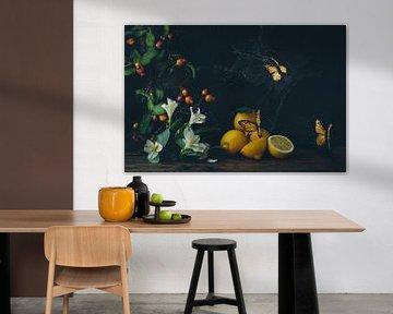 Stilleven met citroenen  en gele vlinders in oude meesters stijl van From My Eyes