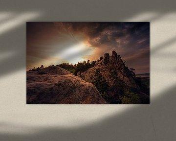 Teufelsmauer bij zonsondergang van Oliver Henze