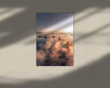 Les Zaanse Schans dans le brouillard 2 sur Ewold Kooistra