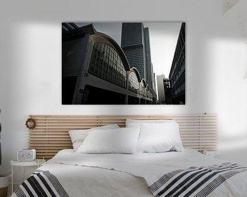 Zwart-wit beeld van Rotterdam