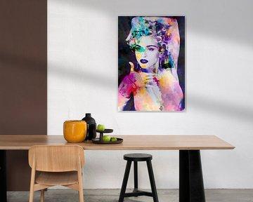 Abstraktes Porträt der Madonna Vogue in Rosa, Orange und Blau, von Art By Dominic