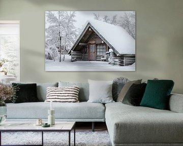 Finland, houten hut van Frank Peters