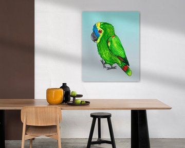 Blauer Stirndamazon-Papagei von Bianca Wisseloo