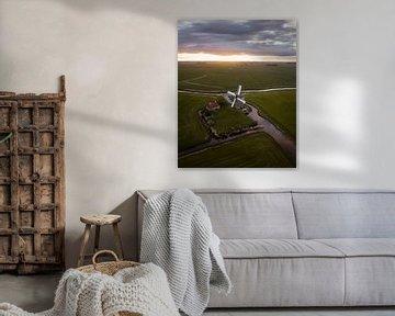 Molen in het Friese landschap van Ewold Kooistra