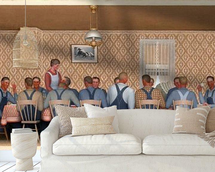 Beispiel fototapete: Grant Wood, Abendessen für die Drescher, 1934 von Atelier Liesjes