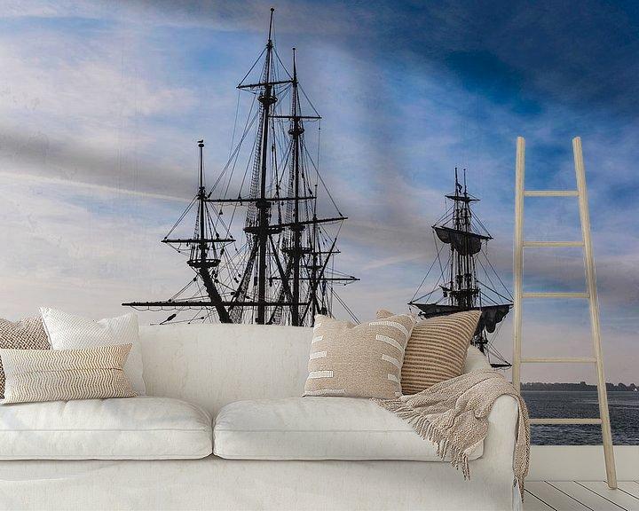 Sfeerimpressie behang: Batavia VOC schip Lelystad van Brian Morgan
