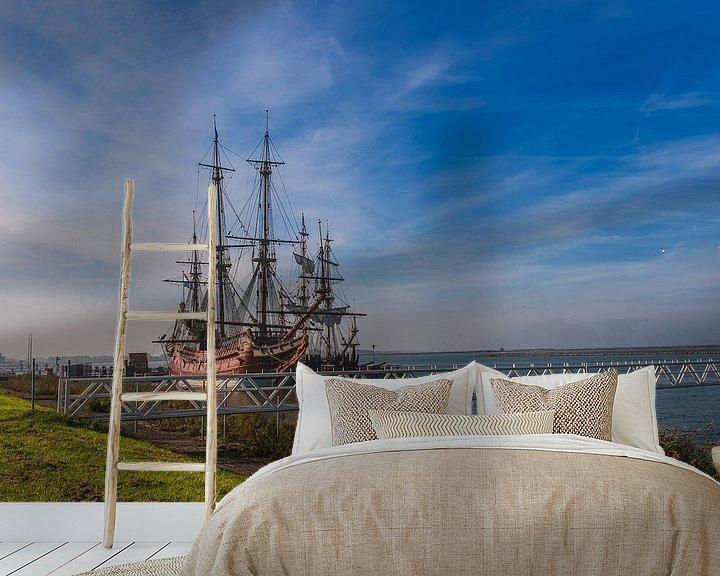 Sfeerimpressie behang: Batavia V.O.C. schip Lelystad van Brian Morgan