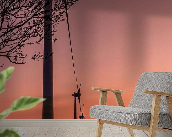 Sfeerimpressie behang: zon's ondergang over de tuple van Michael Verbeek