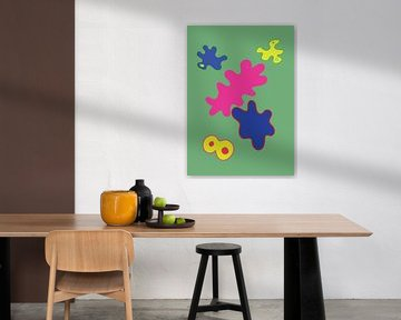 Een vrolijk en kleurrijk grafisch illustratie van Francisca Snel