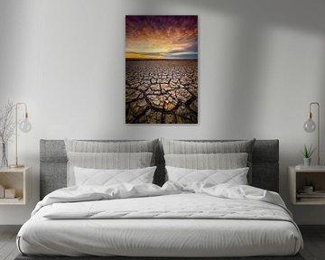 Sécheresse sur la côte des Wadden de Groningue au coucher du soleil sur Bas Meelker