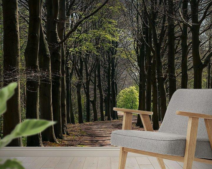 Sfeerimpressie behang: Bomenlaan in de lente van Bep van Pelt- Verkuil