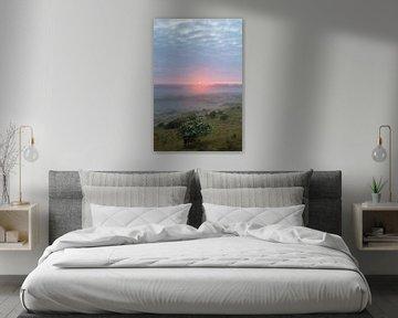 Sonnenaufgang über den Dünen mit blühendem Weißdorn, vertikal von Menno van Duijn