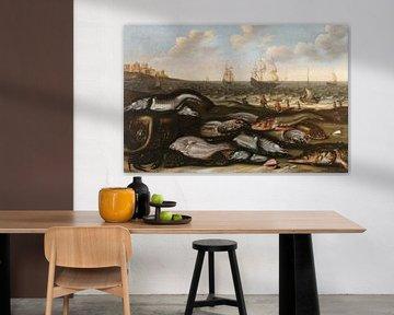 Am Strand gehäufte Fische, Adam Willaerts, Willem Ormea