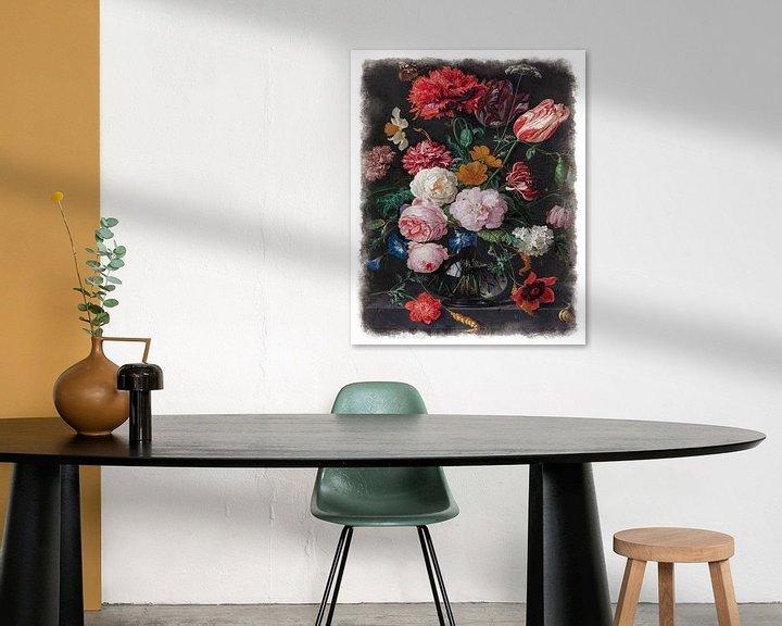 Sfeerimpressie: Oude Meesters serie #6 - Stilleven met bloemen in een glazen vaas, Jan Davidsz. de Heem van Anita Meis