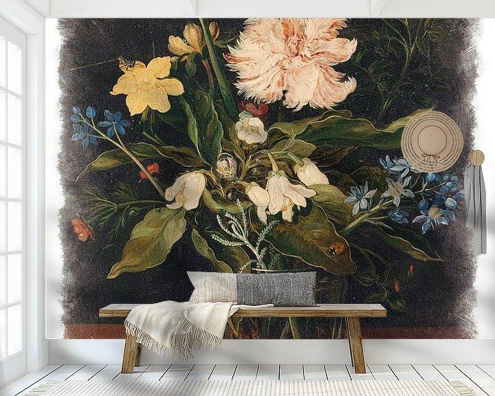 Sfeerimpressie behang: Oude Meesters serie #7 - Stilleven met bloemen in een glas, Jan Brueghel (II) van Anita Meis