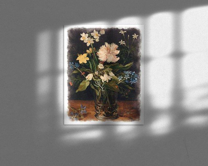Sfeerimpressie: Oude Meesters serie #7 - Stilleven met bloemen in een glas, Jan Brueghel (II) van Anita Meis