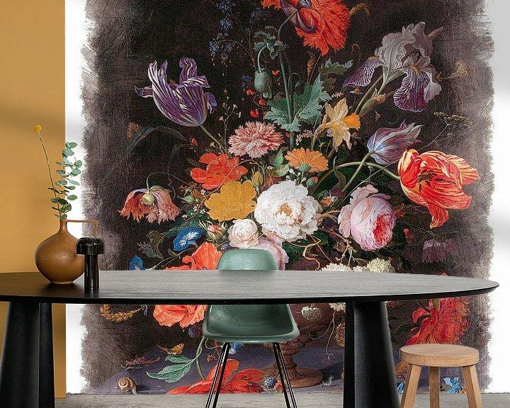 Sfeerimpressie behang: Oude Meesters serie #1 - Stilleven met bloemen en een horloge, Abraham Mignon van Anita Meis
