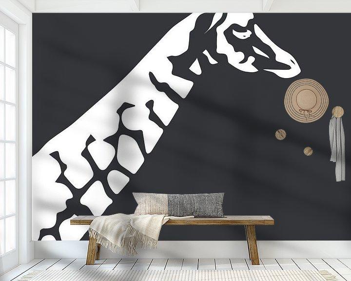 Beispiel fototapete: Giraffe mit Dunkelgrün von Anne Dellaert