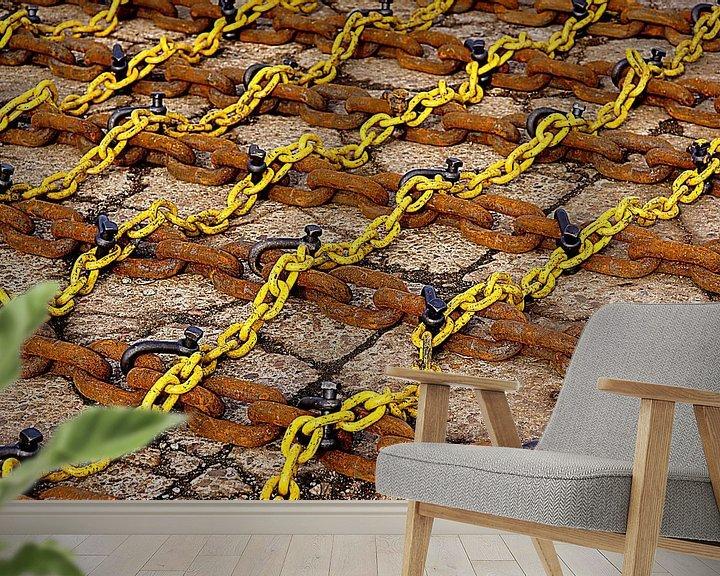 Beispiel fototapete: Yellow and rusty chains in the port of Vlissingen. von Alice Berkien-van Mil