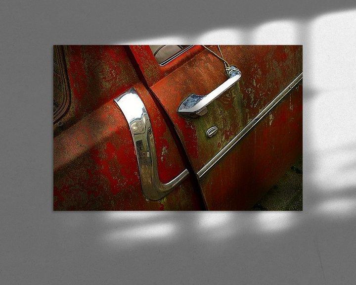 Beispiel: Detail of rusty old red car. von Alice Berkien-van Mil