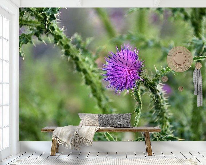 Sfeerimpressie behang: Een bloeiende distel. van Jurjen Jan Snikkenburg