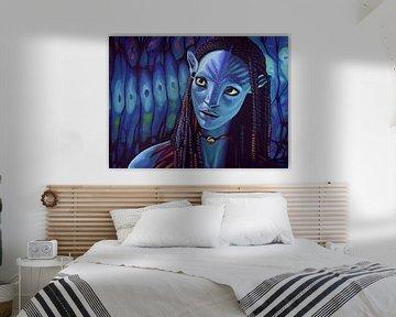 Zoe Saldana als Neytiri in Avatar schilderij von Paul Meijering
