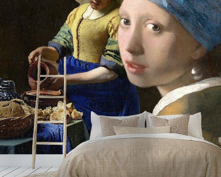 Beispiel fototapete: Die Milchmagd und das Mädchen mit dem Perlenohrring, Johannes Vermeer