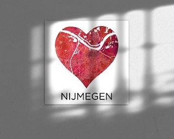 L'amour de Nimègue | Plan de la ville dans un cœur sur Wereldkaarten.Shop