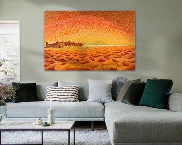 Malen der Sahara-Wüste mit der Kasbah von Ton van Breukelen