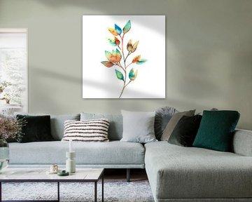 Bunte Blätter in Aquarell | Malerei von WatercolorWall