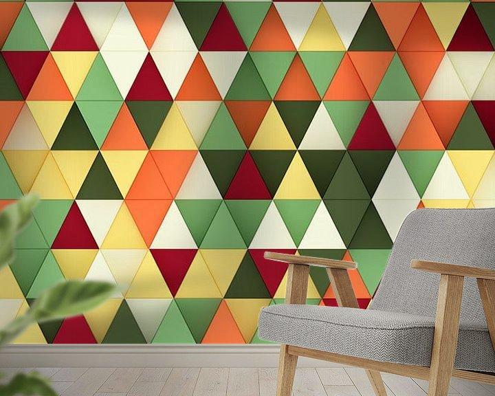 Sfeerimpressie behang: Kleurrijke 3D driehoeken van Jörg Hausmann