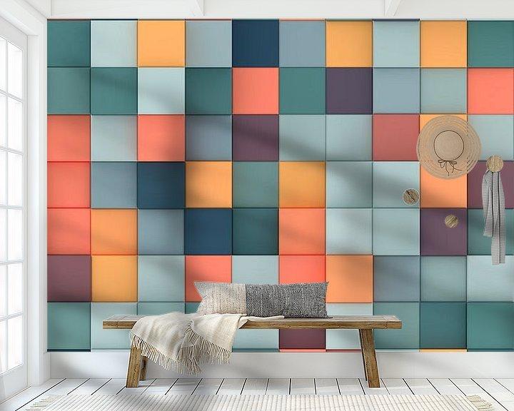 Beispiel fototapete: Bunte 3D-Quadrate von Jörg Hausmann