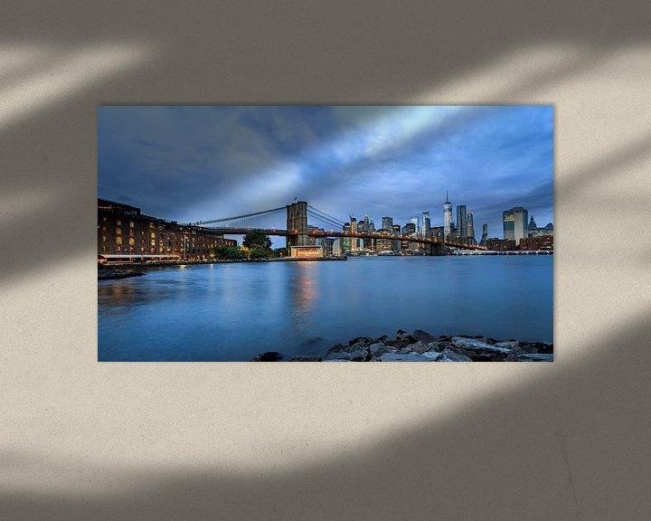 Sfeerimpressie: Brooklyn Bridge tijdens het blauwe uurtje van Natascha Velzel