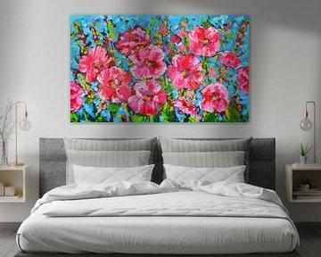 Bunte rosa Blumen von Vrolijk Schilderij