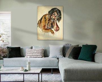 Nackte Frau stützt Kopf auf Hand, Arno Nadel von Atelier Liesjes