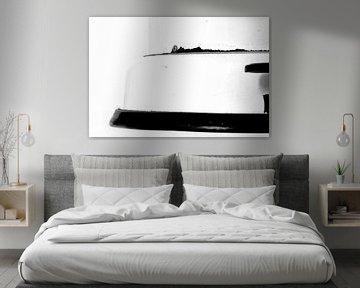 Abbildung eines Ausschnitts eines Treteimers in Schwarz-Weiß. von Therese Brals