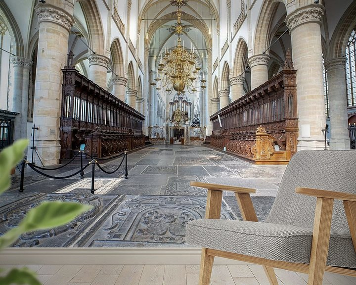 Sfeerimpressie behang: Grote Kerk Dordrecht van Ilse de Deugd