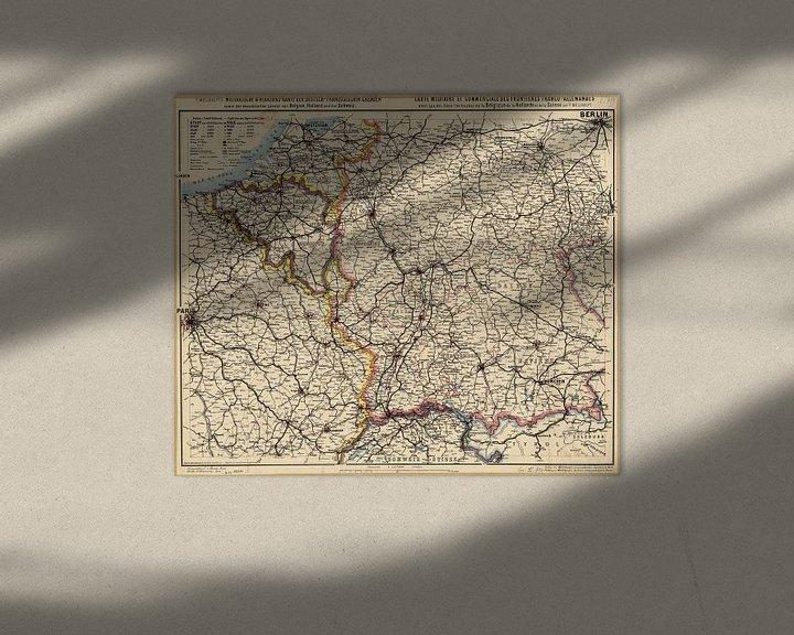 Sfeerimpressie: Duits-Franse Grens, Kaart 1885 van Atelier Liesjes