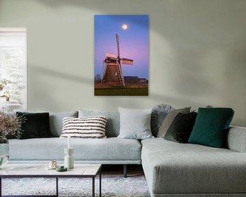 Zonsondergang en volle maan bij Hoeksmeer, Garrelsweer