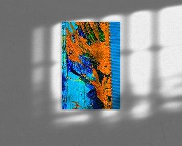 Blau orangene abstrakte Farbfläche von Klaus Heidecker