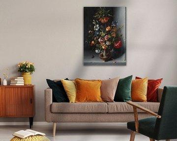 Blumenstillleben mit Kronen-Kaiserfalter in einer Steinnische, Jacob Vosmaer