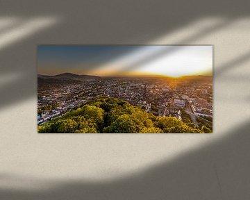 Freiburg mit dem Münster bei Sonnenuntergang von Werner Dieterich