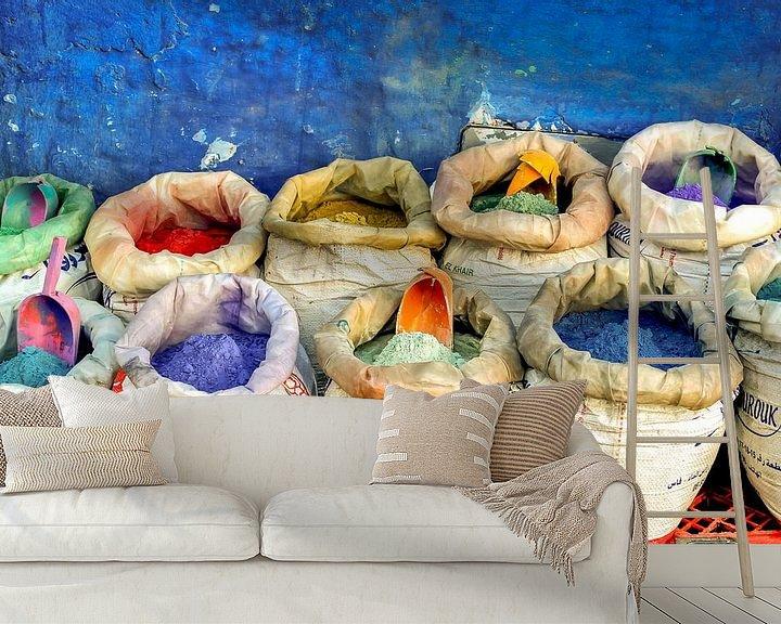 Sfeerimpressie behang: Markt met spijzen van Stefania van Lieshout