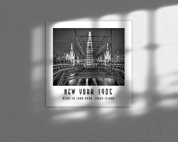 New York 1905: Nacht in Luna Park, Coney Island van Christian Müringer
