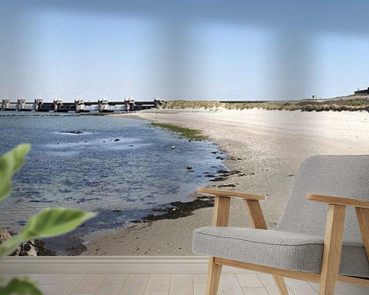 Sfeerimpressie behang: Panorama foto van stormvloedkering Neeltje Jans van W J Kok