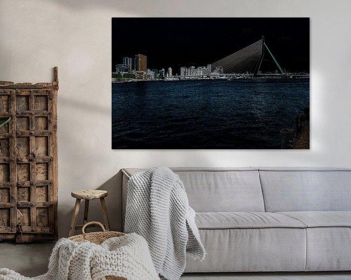 Sfeerimpressie: Erasmusbrug, Rotterdam van Leo Luijten